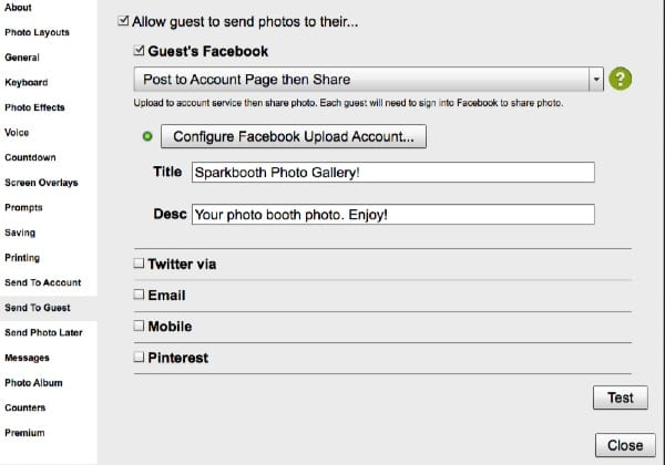 Facebook post to account share settings screenshot